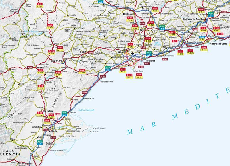 Mapa De La Costa Dorada Mapa Del Delta Del Ebro