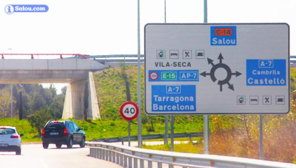 One of the access roundabouts Salou on the C-14.