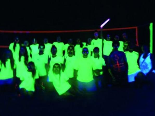 First championship in Salou beach volleyball night with neon lights
