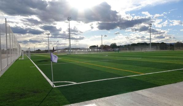 Image of one of the new fields of artificial turf.