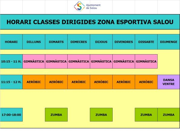 Calendar of the activities at the Zona Esportiva of Salou