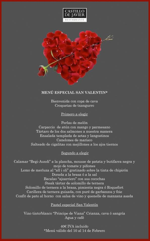 Of later days to savor the special menu for the Castillo de Javier Lovers