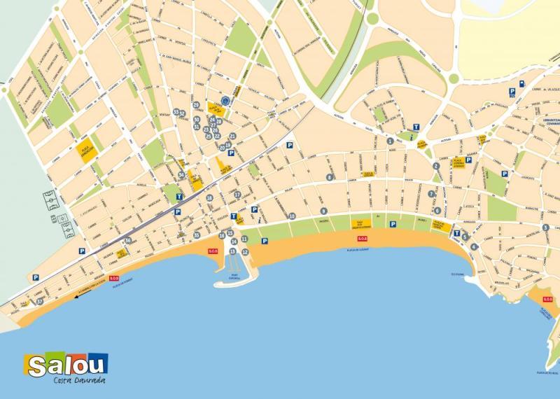 Plano De La Ciudad Con El Listado De Establecimientos